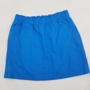 J Crew Skirt 8 Blue Pencil Ruched Linen Cotton Sid